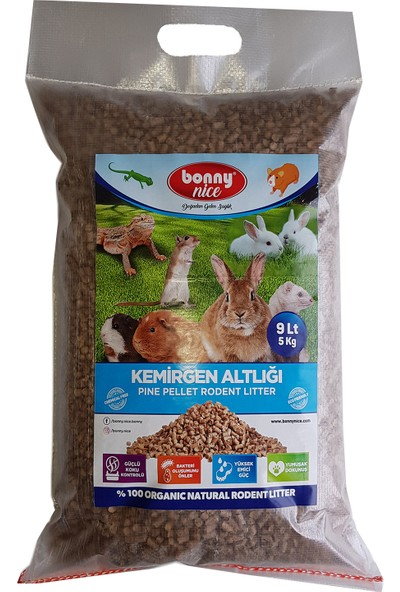 Bonny Nice Organik Çam Pelet Tavşan Altlığı 5 kg 9 L x 2 Paket