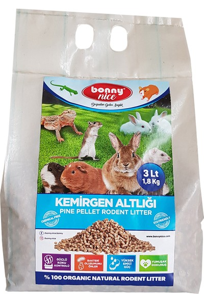 Bonny Nice Organik Çam Pelet Hamster Altlığı 1.8 kg 3 L