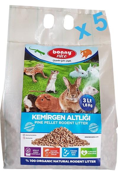 Bonny Nice Organik Çam Pelet Ginepig Altlığı 1.8 kg 3 L x 5 Paket