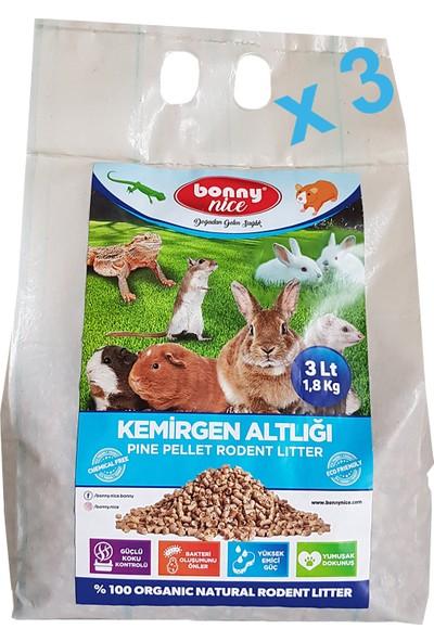 Bonny Nice Organik Çam Pelet Ginepig Altlığı 1.8 kg 3 L x 3 Paket
