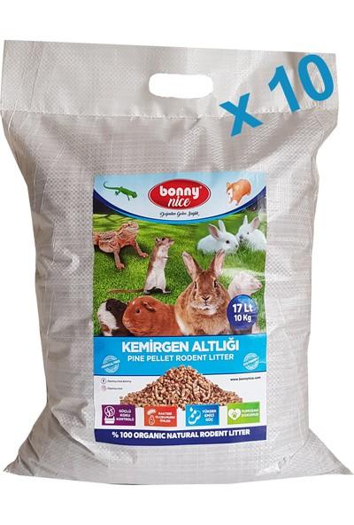 Bonny Nice Organik Çam Pelet Tavşan Altlığı 10 kg 17 L x 10 Paket
