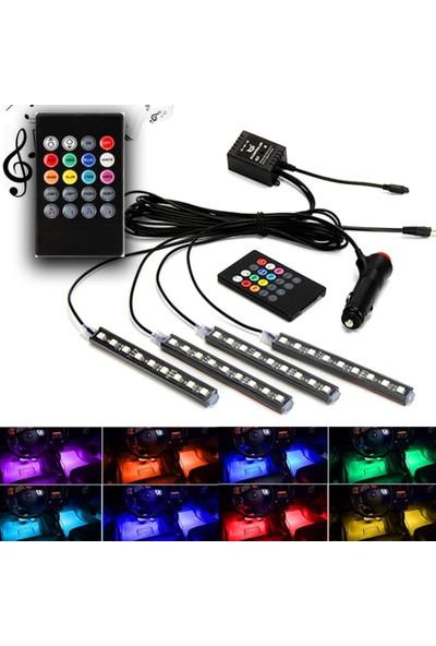 Eroğlu Araç Içi Ayak Altı Müziğe ve Sese Duyarlı Renkli Kumandalı 12 LED