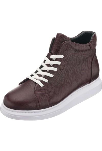 Costo Shoes MHG201 Bordo Büyük Numara Dana Derisi Rahat Geniş Kalıp Erkek Bot 46