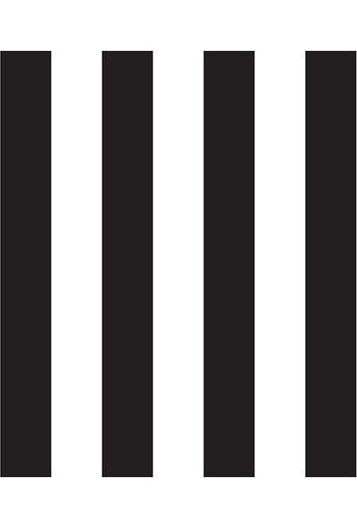 Zümrüt Siyah Beyaz Çizgili Desen Duvar Kağıdı