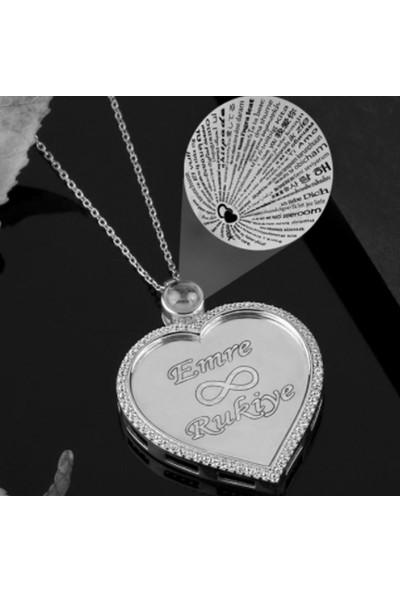 Pigado Isme Kişiye Özel Gümüş 100 Dilde Seni Seviyorum Kalpli Kolye