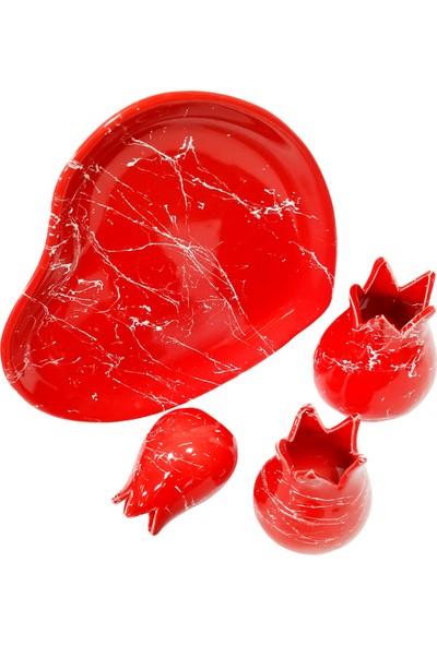Otogar Çini Kalp Tabaklı Mermer Desenli Lale Biblo Seti
