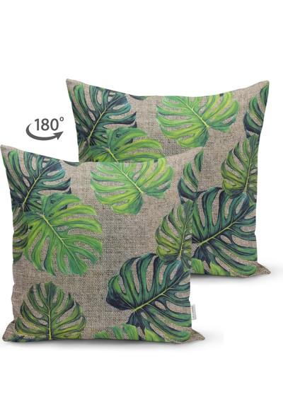 Çift Taraflı Çuval Zeminli Palmiye Yaprakları Özel Tasarım Süet Yastık Kırlent Kılıfı