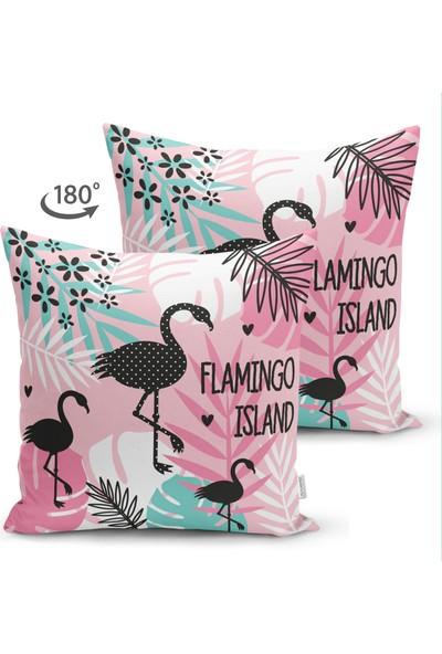 Çift Taraflı Flamingo Desenli Dijital Baskılı Süet Yastık Kırlent Kılıfı