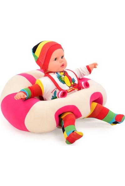 Ekon Sweet Bebe Yatmaz Beyaz-Pembe Bebek Oturma Destek Minderi Bebek Koltuğu