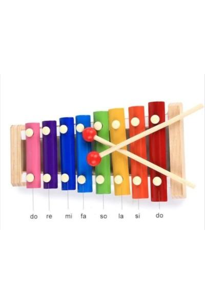 Sinka Ahşap Eğitici Ahşap Ksilofon 8 Nota 8 Ton 25 cm Selefon Oyuncak
