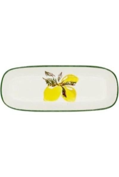 Şura Mutfak Peynirlik Kayık Tabak Limon Desen El Dekorudur 1 Adet