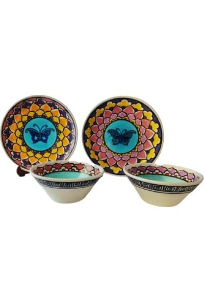 Tuluat Art Gallery Meşhur Kütahya Çinisi, %100 El Işleme ,2 Adet Pasta / Kahvaltılık Sunum Tabak Takım ve 2 Adet Kase