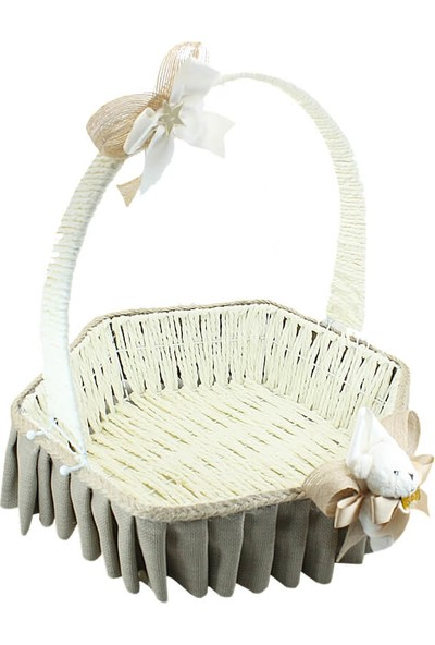 Süsle Bebek Parti Saplı Altıgen Kumaş Sepet 32 cm Büyük Boy Taş Rengi