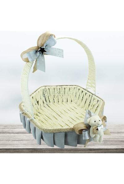 Süsle Bebek Parti Saplı Altıgen Kumaş Sepet 32 cm Büyük Boy Gri