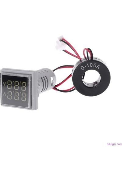 Myrobotech 22MM Dijital Voltmetre-Ampermetre Kare Ac 60-500V 0-100A
