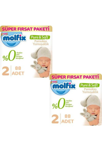 Molfix Bebek Bezi Pure & Soft 2 Beden Süper Fırsat 176 3 - 6 kg