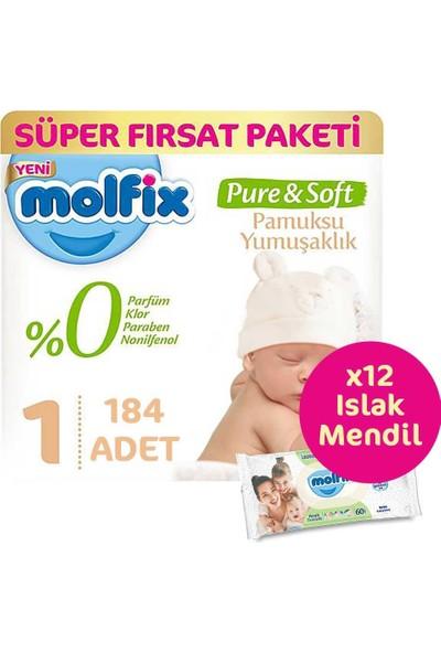 Molfix Pure&Soft 1 Beden Yenidoğan 184'lü & 12 Paket Islak Mendil 2 - 5 kg