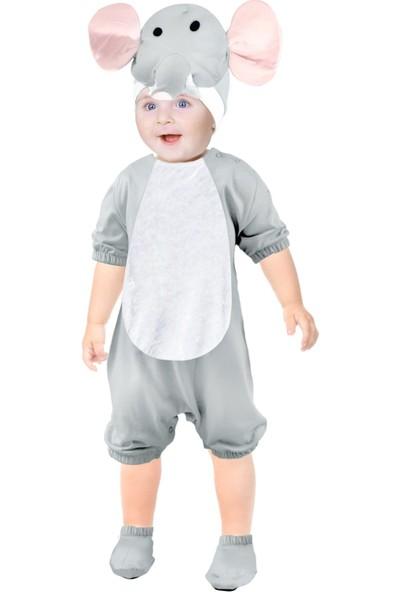 Oulabimir Kısa Kollu Bebek Pamuklu Fil Kostümü Tulumu
