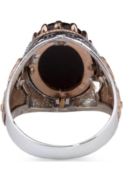 Candie Silver Kral Tacı Desenli Siyah Oniks Taşlı Gümüş Erkek Yüzük