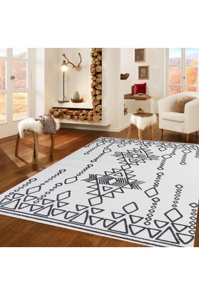 Queen Home 1229 Etnik Desenli Antrasit Beyaz Halı 160 x 220 cm