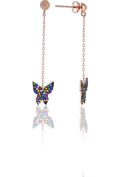 Midyat Nurtaş Gümüş Kelebek Tasarım Renkli Taşlı Gümüş Üçlü Set