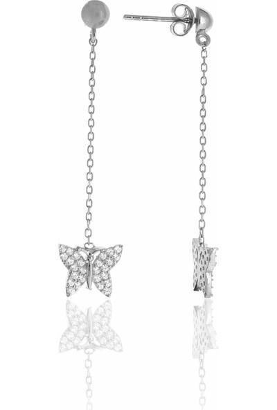 Midyat Nurtaş Gümüş Kelebek Tasarım Zirkon Taşlı Gümüş Üçlü Set