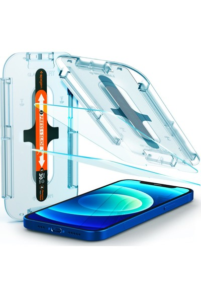 Spigen Apple iPhone 12 / iPhone 12 Pro Cam Ekran Koruyucu Kolay Kurulum Glas.tR EZ Fit (2 Adet) - AGL01801