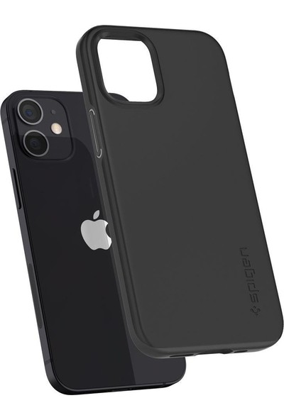 Spigen Apple iPhone 12 Mini Kılıf Thin Fit Black - ACS01739
