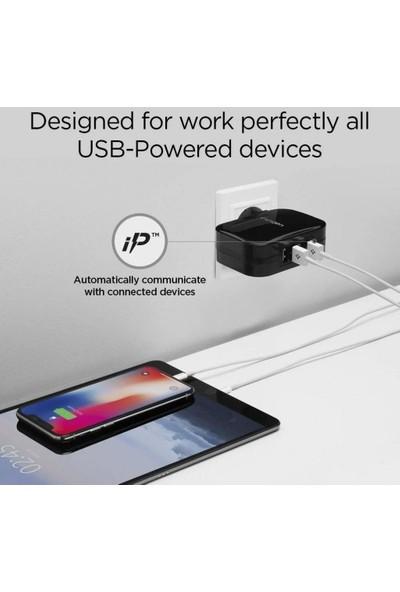 Spigen Essential 34W Hızlı Şarj Cihazı 4 Port USB (5V 6.8A) iP (Intelligent Power Technology) Duvar Şarjı F401 Black - 000AD23962