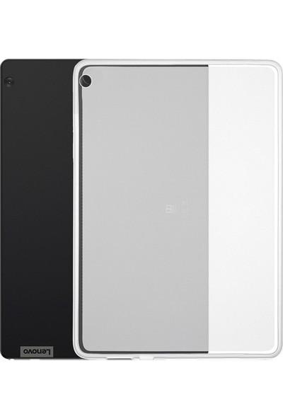 Tekno Grup Lenovo Tab M10 Plus Kılıf Korumalı Lüx Silikon Kılıf + Cam Ekran Koruyucu Şeffaf