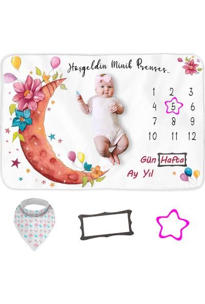 Bebek Hediye Aylık Fotoğraf Anı Battaniyesi, Kız Bebek Yeni Doğan Baby Shower Bebek Doğum Hediyesi, Bebek Önlük ve Çerçeve Hediyeleri