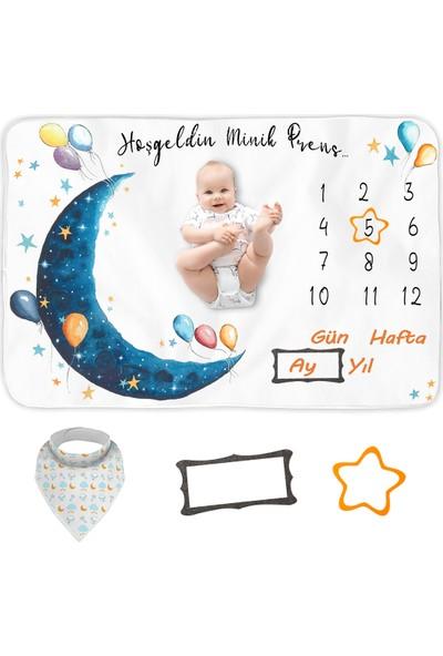 Bebek Hediye Aylık Fotoğraf Anı Battaniyesi, Erkek Bebek Yeni Doğan Baby Shower Bebek Doğum Hediyesi, Bebek Önlük ve Çerçeve Hediyeleri