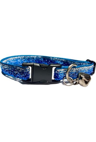 Pacopet Işıltılı Rengarenk, Zilli Kedi Boyun Tasması - Açık Mavi
