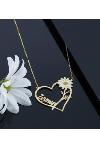 Brs Silver 925 Ayar Kişiye Özel Kalp Içinde Papatya Isimli Gümüş Kolye