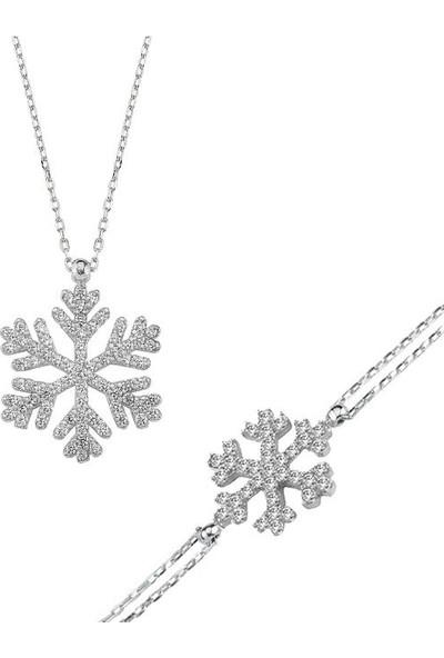 Enes Store 925 Ayar Gümüş Kar Tanesi Kadın Kolye Bileklik Set