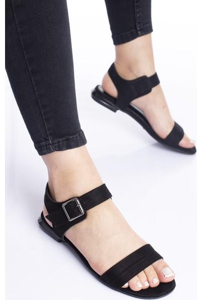 Modagon Minerbe Sandalet Siyah Süet