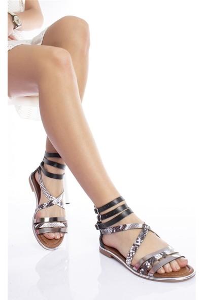 Modagon Vielle Deri Sandalet Beyaz