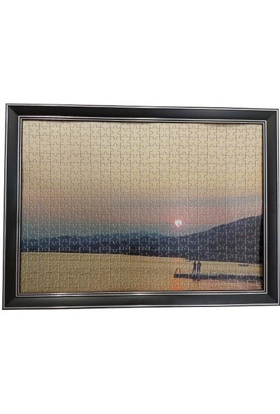 Deritel 1000 Parça Puzzle Çerçevesi Siyah Gümüş Kontörlü 48 * 68 cm
