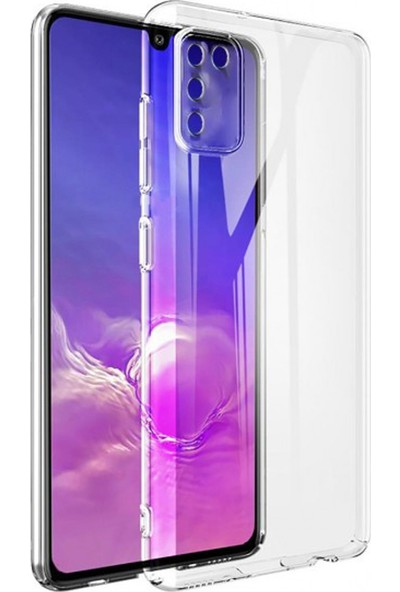 Etech Samsung Galaxy M21 Kılıf Şeffaf Silikon Kamera Lens Korumalı