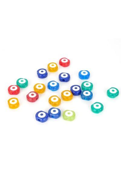 Bimbambom Renkli Nazar Boncuğu 50 Adet, Delikli Plastik Nazar Boncuğu