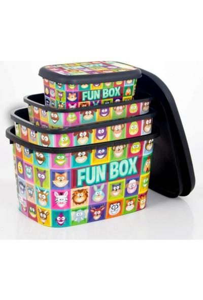 Asfar Oyuncak Kutusu Saklama Kutusu Seti 4'lü Funbox