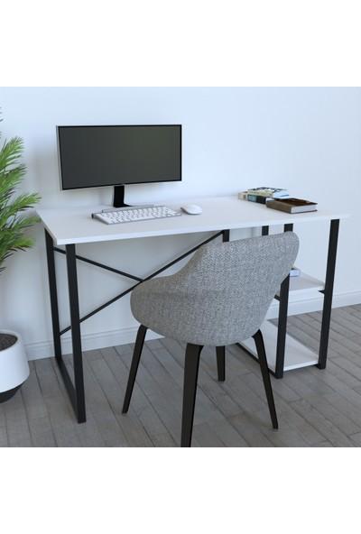 Sarıncı Raflı Bilgisayar Masası ve Çalışma Masası Beyaz
