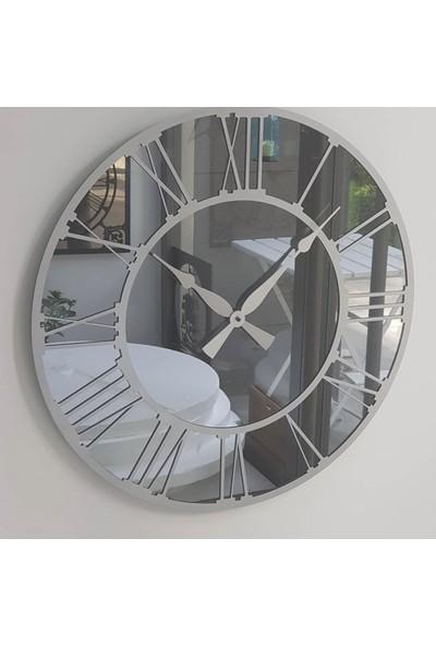 Peri̇m Decor La Vıe Argent 50 cm Füme Aynalı Gümüş Duvar Saati