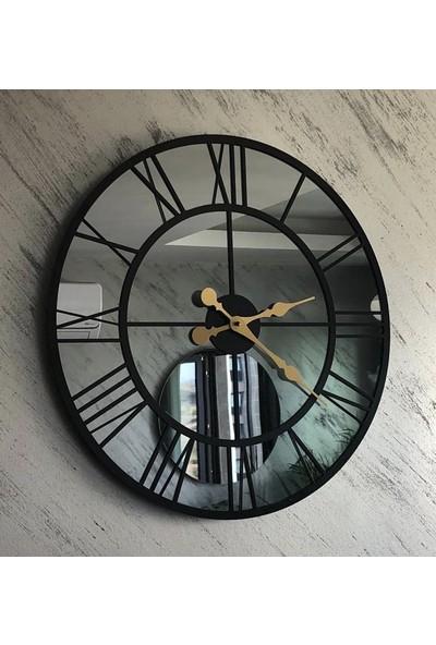 Peri̇m Decor Trendy Carbon 60 cm Füme Aynalı Siyah Duvar Saati