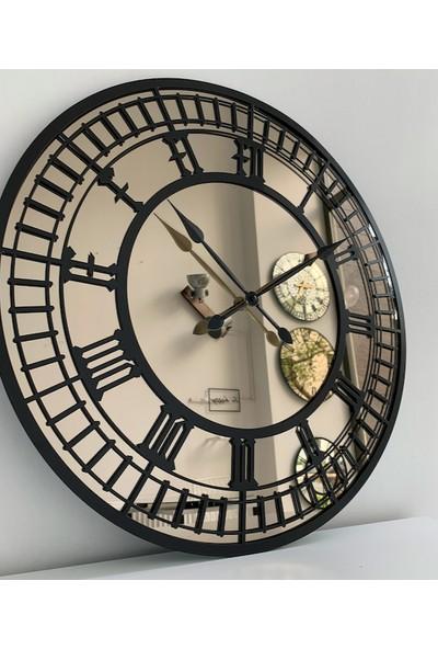 Peri̇m Decor Lıttleben Carbon 80 cm Bronz Aynalı Siyah Duvar Saati