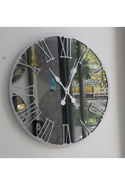 Peri̇m Decor Luna Argent 60 cm Füme Aynalı Gümüş Duvar Saati