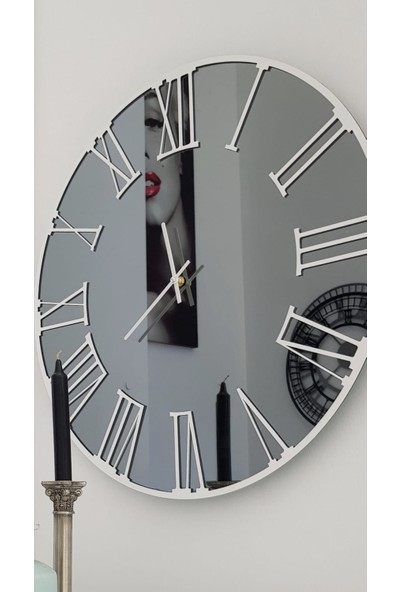 Peri̇m Decor Luna Bıanca 50 cm Füme Aynalı Beyaz Duvar Saati