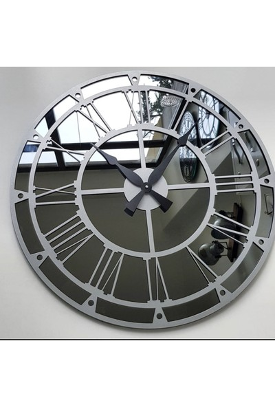 Peri̇m Decor Thor Argent 70 cm Füme Aynalı Gümüş Duvar Saati