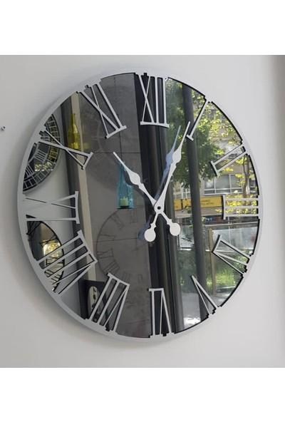 Peri̇m Decor Luna Argent 70 cm Füme Aynalı Gümüş Duvar Saati