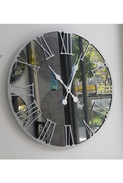 Peri̇m Decor Luna Argent 80 cm Füme Aynalı Gümüş Duvar Saati